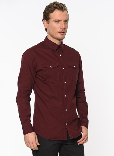 Jack & Jones Jean Gömlek Bordo